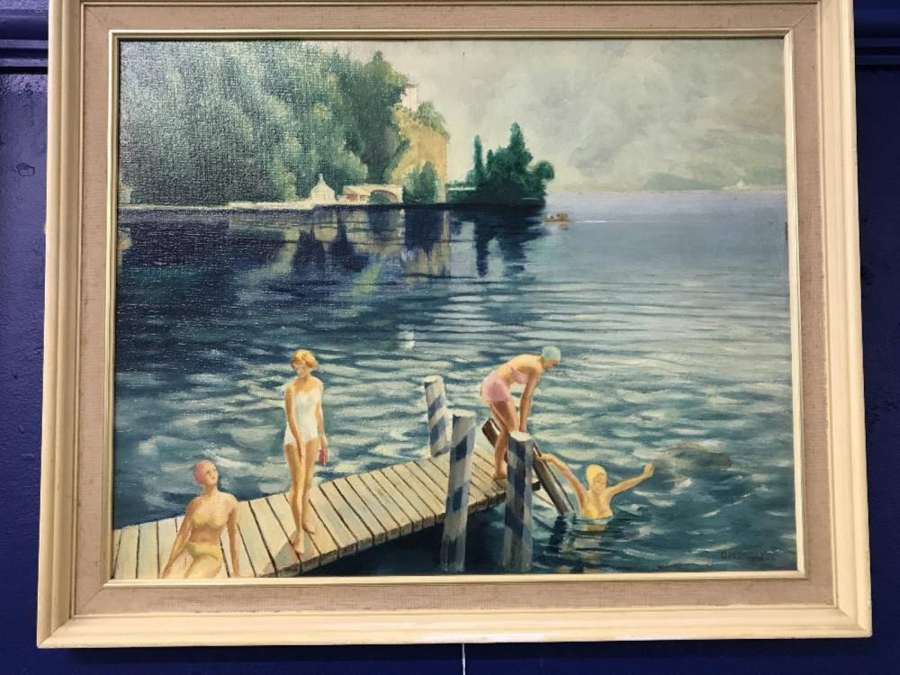20th cent. A M Sheridan: Oil on board study of four females bathing in a lake with buildings and tre