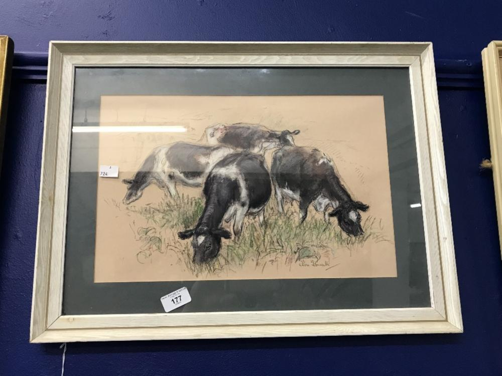 Nora Howarth: Pastel study 'four cows in a meadow', signed lower right. Framed and glazed 16ins. x 1