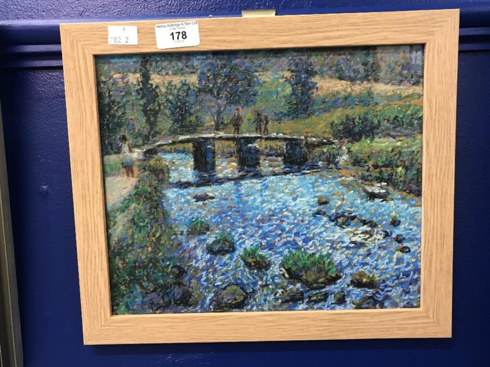 21st cent. Paul Stephens pastel, Exhibited Royal West of England Academy, Clapper Bridge on Dartmoor