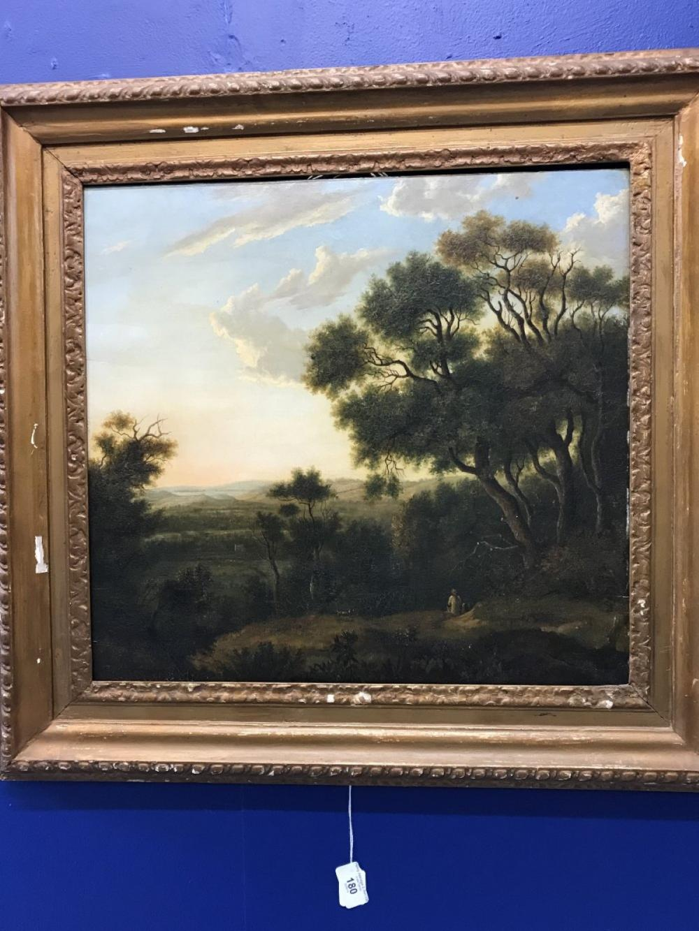 Patrick Nasmyth 1787 - 1831: Oil on panel, landscape study, with trees and figures. Framed 18ins. x