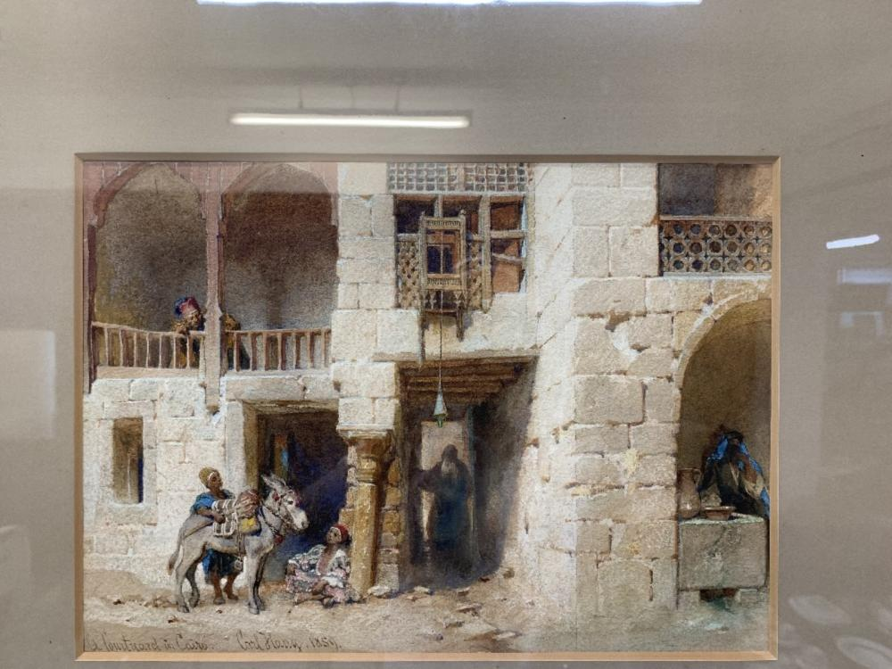 """Carl Haag 1820-1915: Watercolour """"A Courtyard in Cairo"""" 1859. Framed and glazed 13ins. x 10ins."""