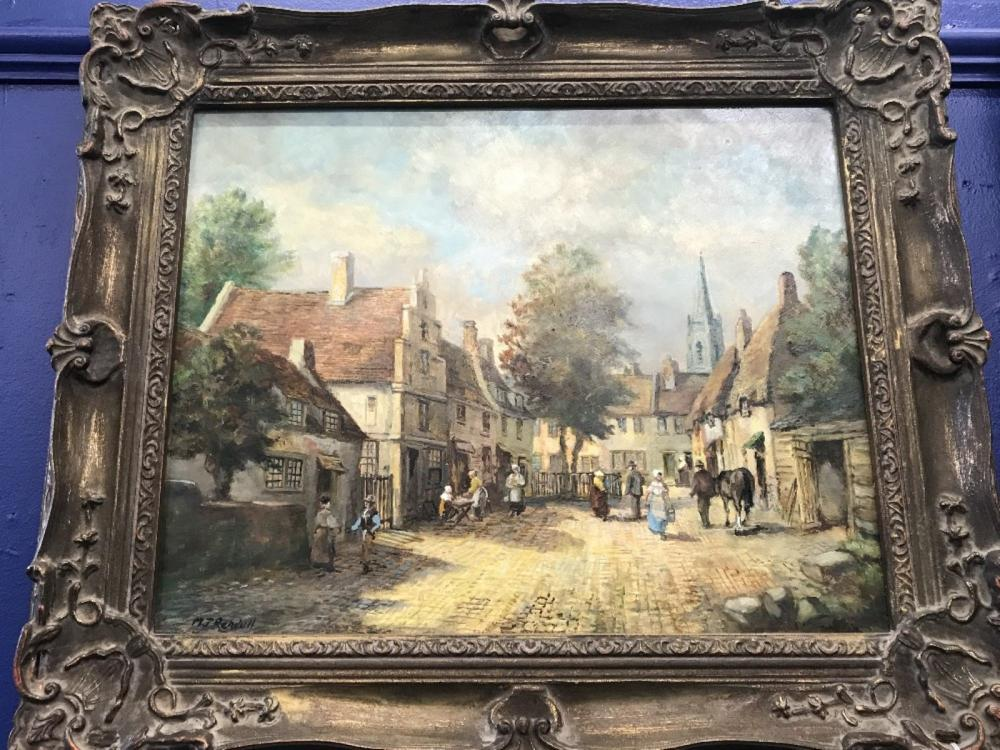 Morgan John Rendell: Oil on board study of a village with figures on a cobbled street. Signed lower