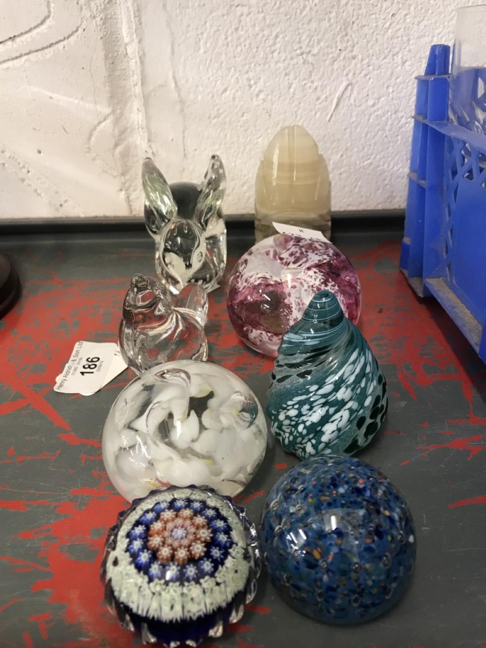 20th cent. Glassware: Paperweights, 8 rabbits, wren, spiral, etc.
