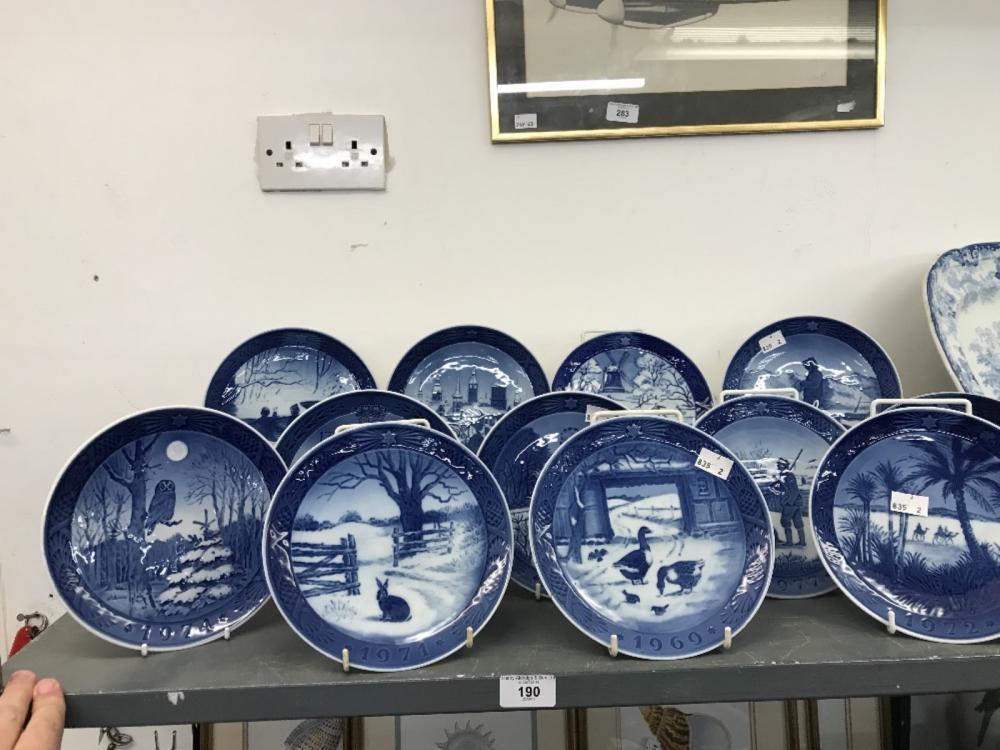 Ceramics: Royal Copenhagen plates dated 1969 boxed, 1971 boxed, 1972, 1973, 1974, 1975, 1976, 1977,