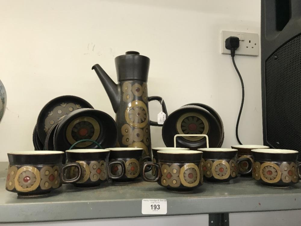"20th cent. Ceramics: Denby ware ""Smarkand"" breakfast & coffee set. Plates x 9, mugs x 8, bowls x 8 a"