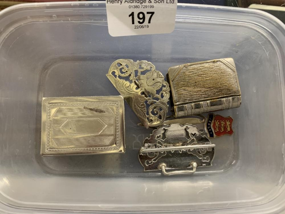 Platedware: Matchbox holder, book shaped vista nursing buckle, a pair of plated on copper telescopic