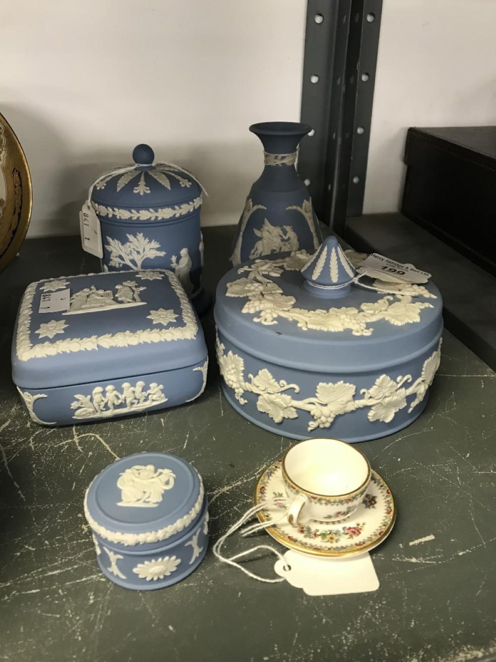 20th cent. Ceramics: Wedgwood blue/white Jasperware circular powder bowl and cover, square trinket b
