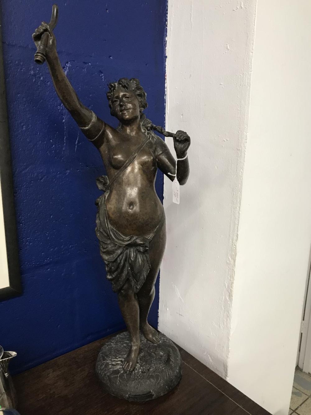 "Sculpture: Hollow spelter cast figure titled ""Levin"", Neo classical semi nude female figure, after P"
