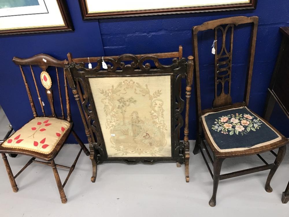 19th cent. Mahogany salon chairs (2) plus a pine three bar towel rail and an oak fire screen with ta