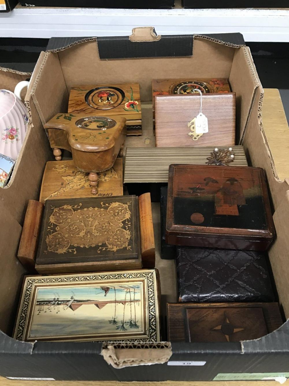 20th cent. Musical and other boxes, various woods & decoration. (13).
