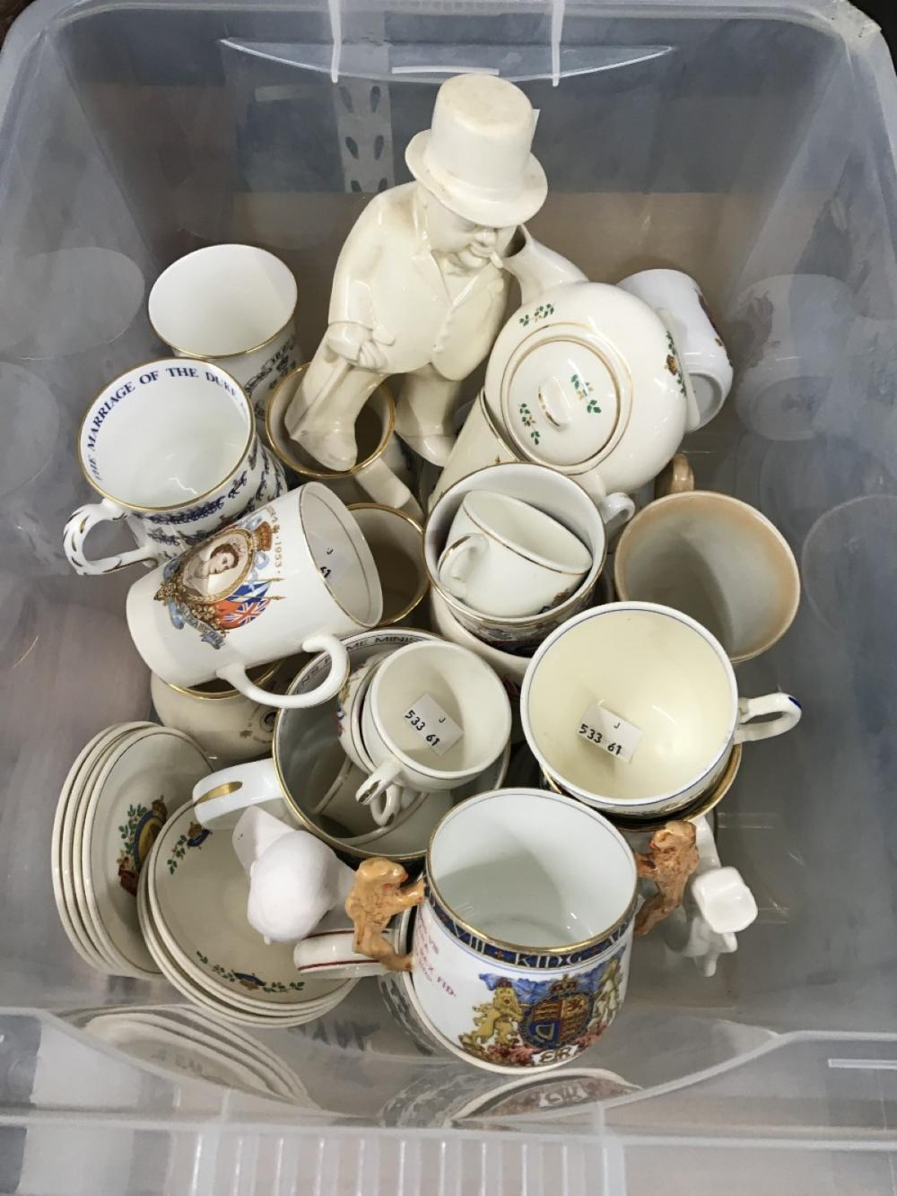 20th cent. Royal commemorative ware. Teapots, mugs, plates, figures of Queen Elizabeth II, Charles,