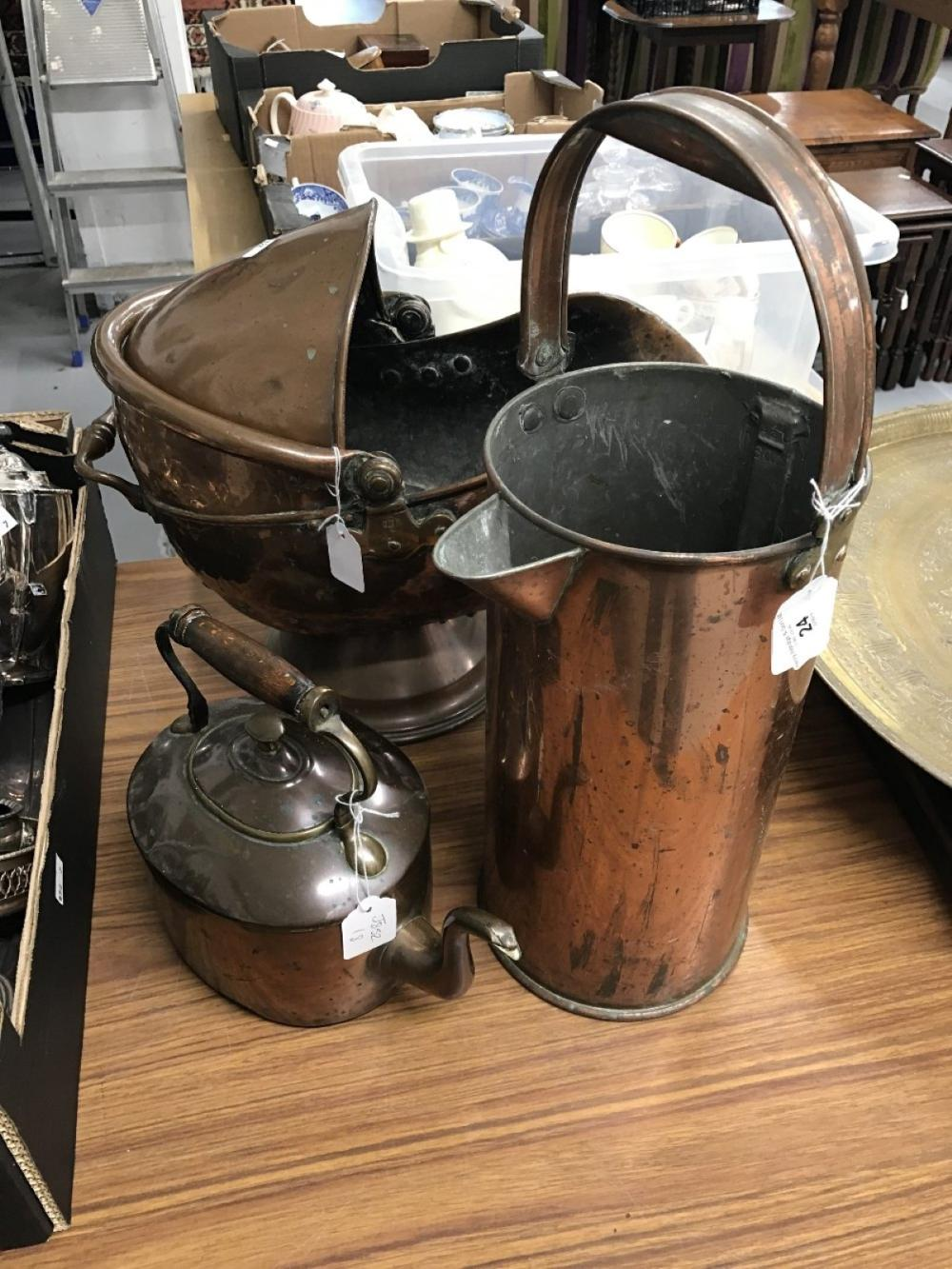 Metal Ware: 19th cent. Copper coal scuttle, large two handled water jack and kettle.