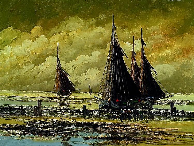 Jean Coune, 1900-1963 Dusseldorf, Fishing boaton