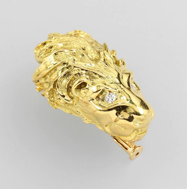 18 kt gold brooch 'lion's head' with brilliants