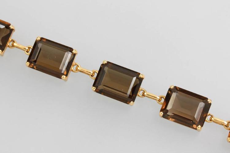 14 kt gold bracelet with smoky quartz