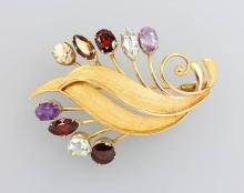 14 kt gold brooch with coloured stones