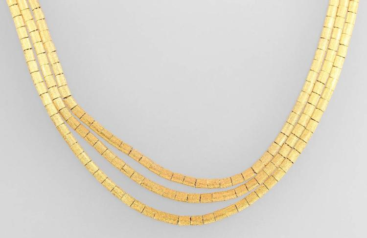 3-row 18 kt gold necklace