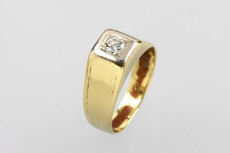 14 kt gold bandring with brilliant