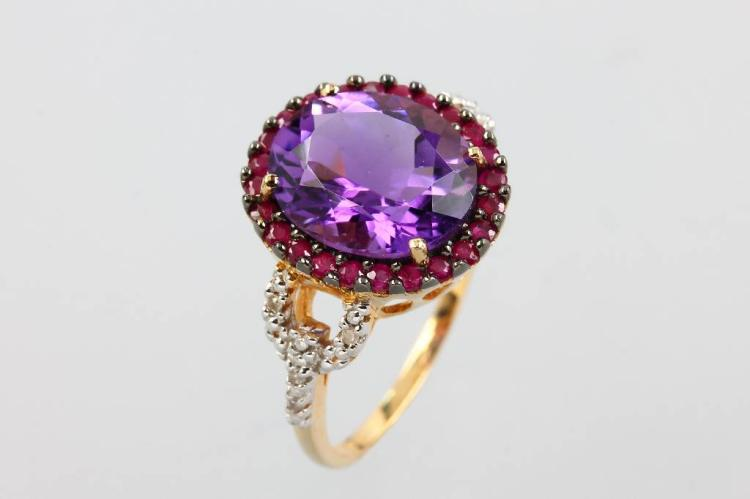 14 kt gold ring with amethyst, rubies and diamonds