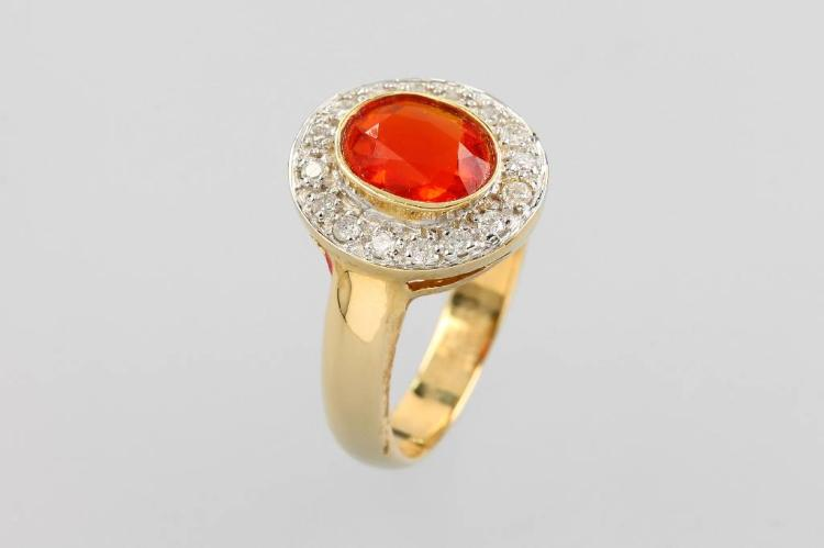 14 kt gold ring with fire opal and brilliants