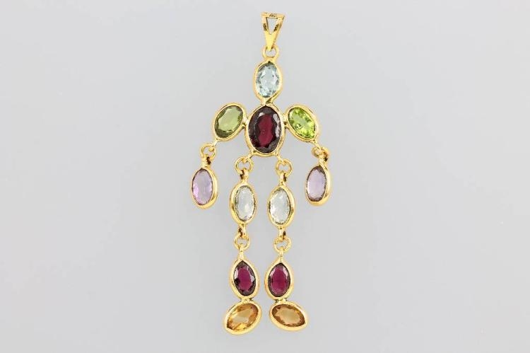 18 kt gold pendant with coloured stones