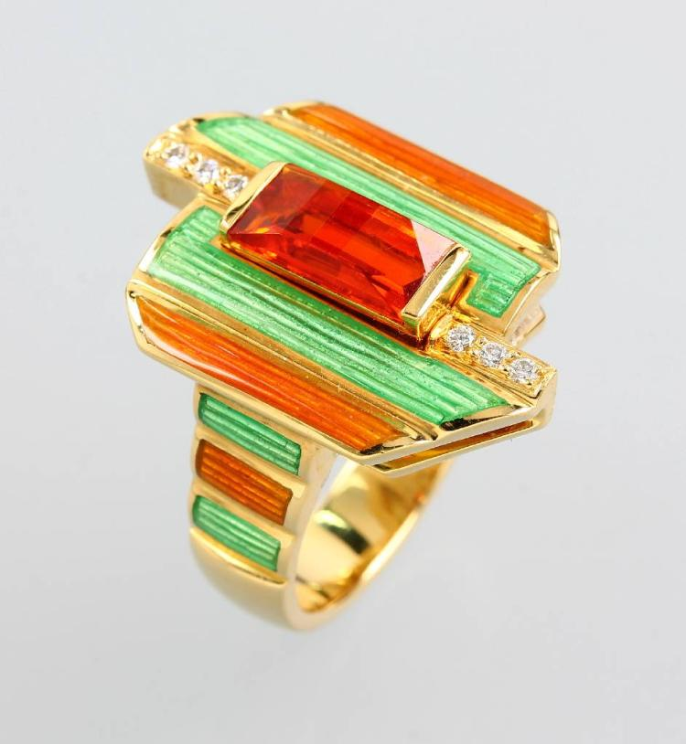 18 kt gold designerring with enamel, citrine and brilliants
