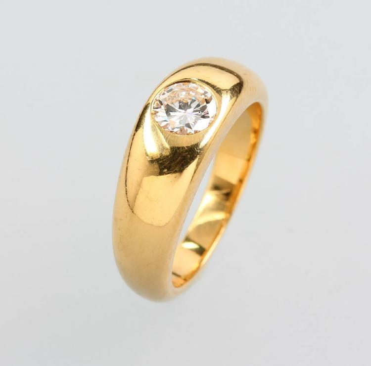 18 kt gold bandring with brilliant