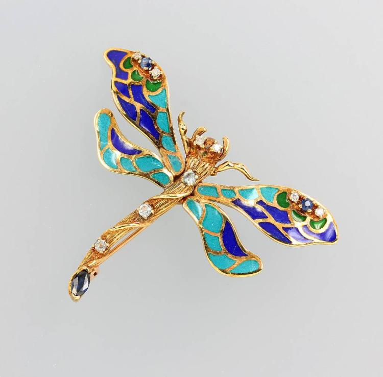 Brooch with enamel and brilliants by VICTOR MAYER for FABERGE