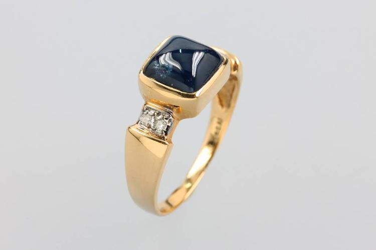 14 kt gold ring with tanzanite and diamonds