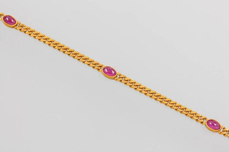 14 kt gold bracelet with rubies