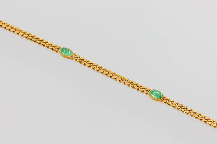 14 kt gold bracelet with emeralds
