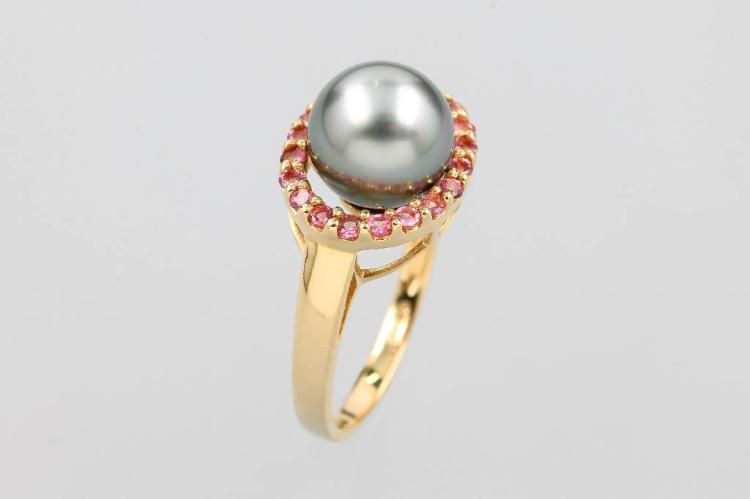 14 kt gold ring with cultured tahitian pearl and tourmalines