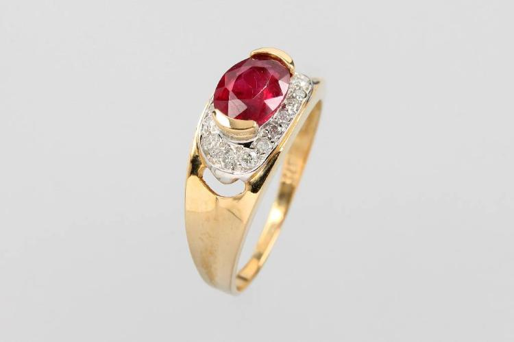 9 kt gold ring with ruby and brilliants