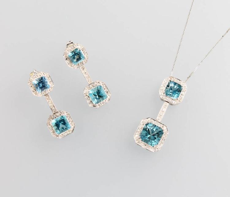 14 kt gold jewelry set with topazes and diamonds