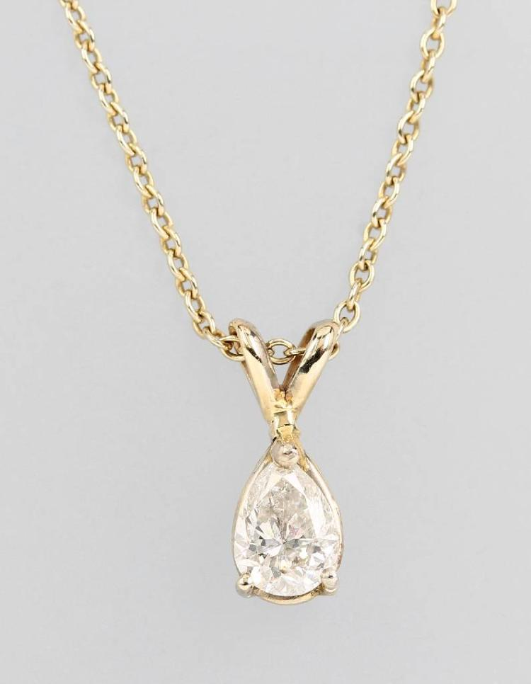 14 kt gold pendant with diamond