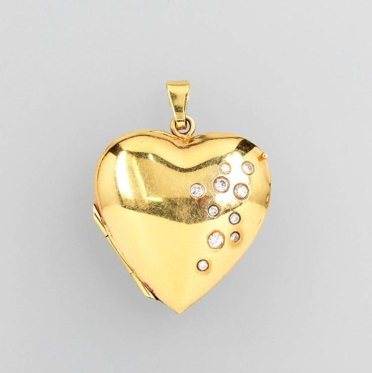 14 kt gold locket pendant 'heart' with brilliants