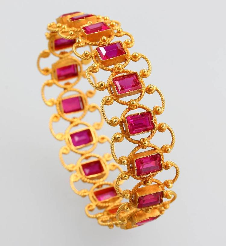 Bracelet with ruby-imitations