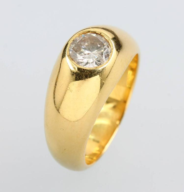 18 kt gold gents bandring with brilliant