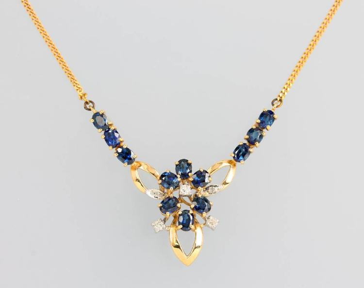 14 kt gold necklace with sapphires and diamonds