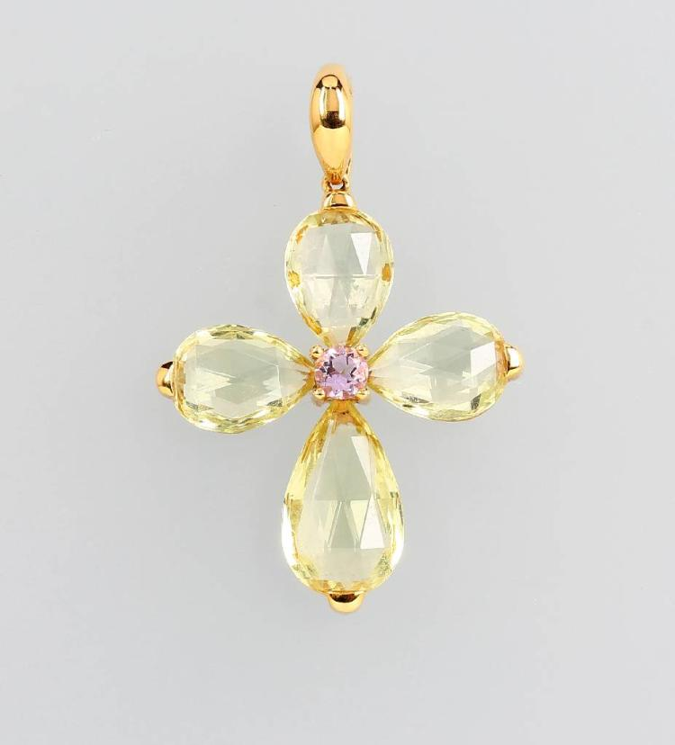 18 kt gold crosspendant with amethyst and beryls
