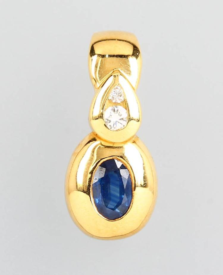 18 kt gold clippendant with sapphire and brilliants