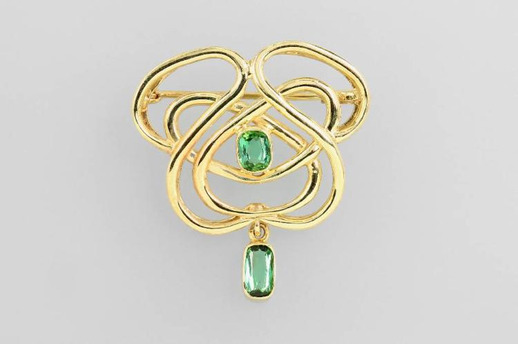 Unusual 14 kt gold brooch with tourmalines