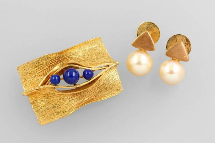 14 kt gold lot with pearls and lapis lazuli