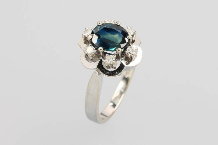 14 kt gold ring with sapphire and brilliants