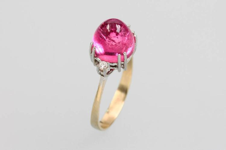18 kt gold ring with tourmaline and diamonds