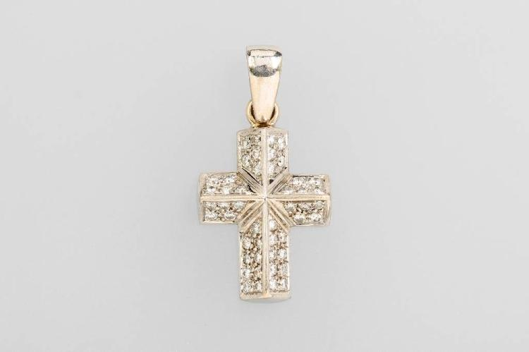 14 kt gold crosspendant with brilliants