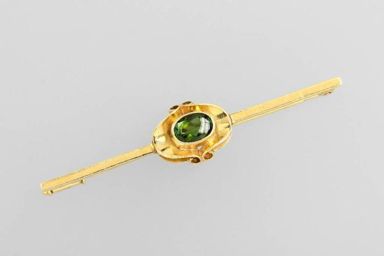 14 kt gold brooch with tourmaline