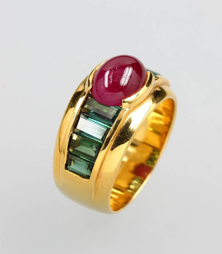 18 kt gold ring with ruby and tourmalines
