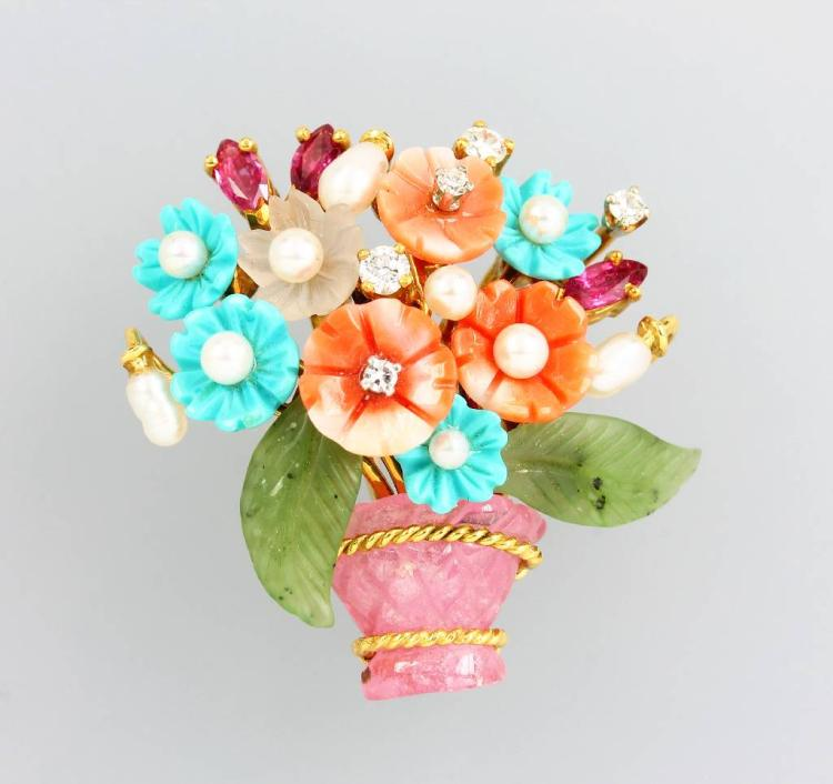 18 kt gold brooch 'flowerbasket' with coloured stones and brilliants