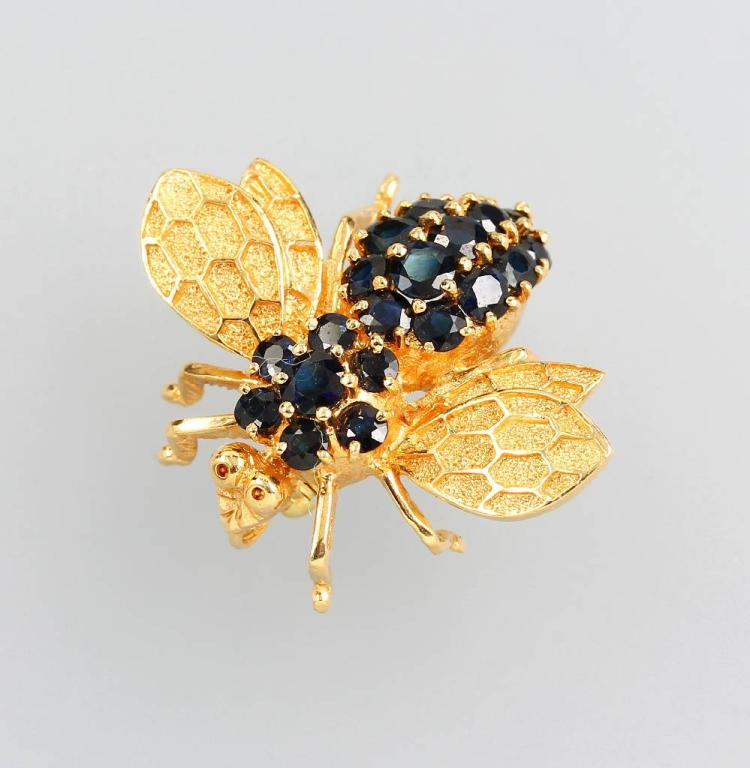 14 kt gold brooch 'bee' with sapphires